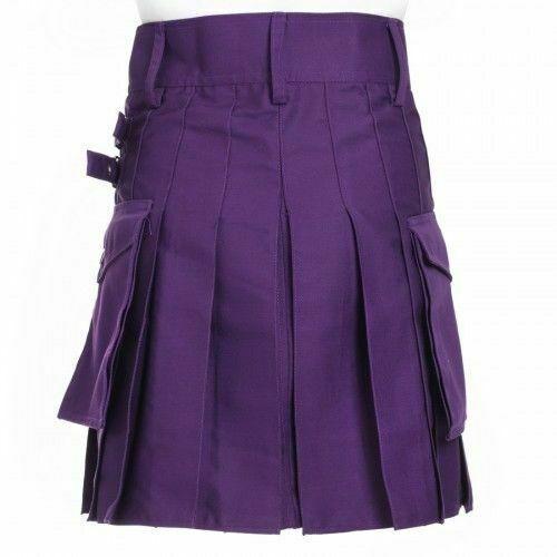 Ladies Purple Utility Scottish Kilt Skirt Cotton BNWT Free Ladies Kilt Pin-1