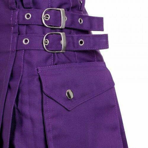 Ladies Purple Utility Scottish Kilt Skirt Cotton BNWT Free Ladies Kilt Pin-2