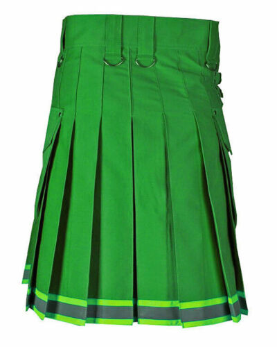 Green stylish Scottish firefighter kilt, made to order, utility kilt for men
