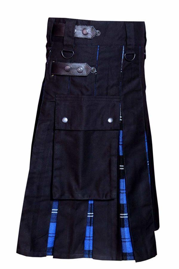 Men Hybrid Utility Kilt 100% Black Cotton with Ramsey Blue Tartan Custom Handmade