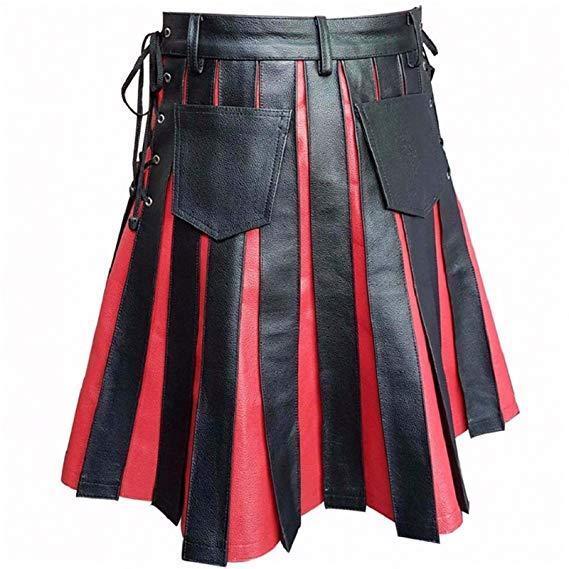 Mens Real Black & Red Leather Kilt Gladiator Pleated