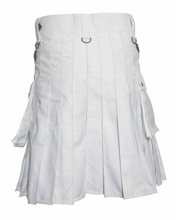 White Leather Strap Utility Kilt For Active Man Kilt Wedding Kilts01