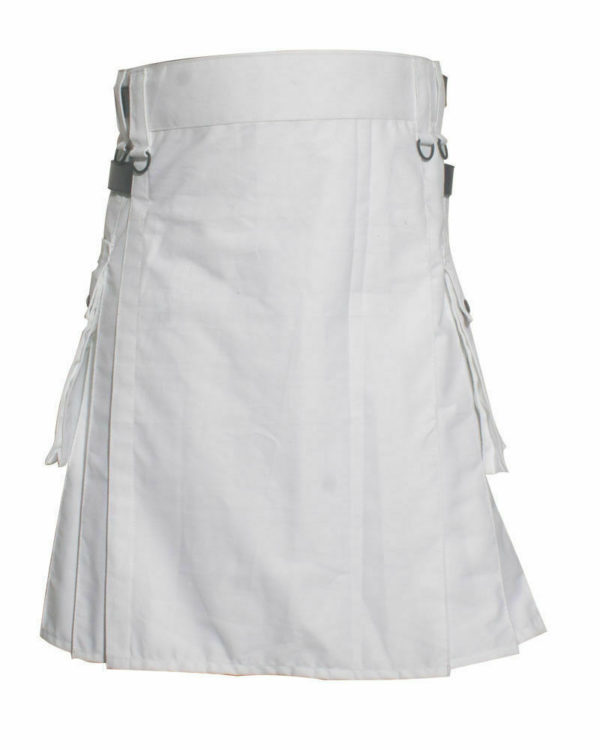 White Leather Strap Utility Kilt For Active Man Kilt Wedding Kilts02