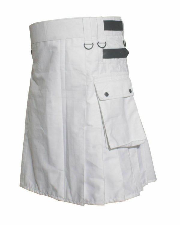 White Leather Strap Utility Kilt For Active Man Kilt Wedding Kilts03