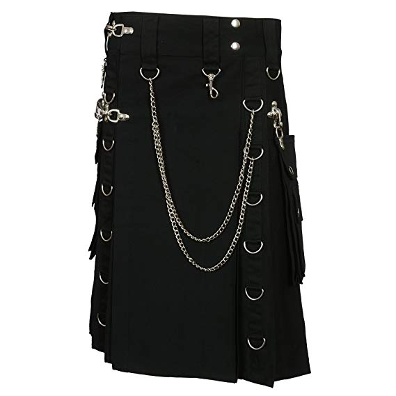 Black Fashion Gothic Kilt With Silver Chains2