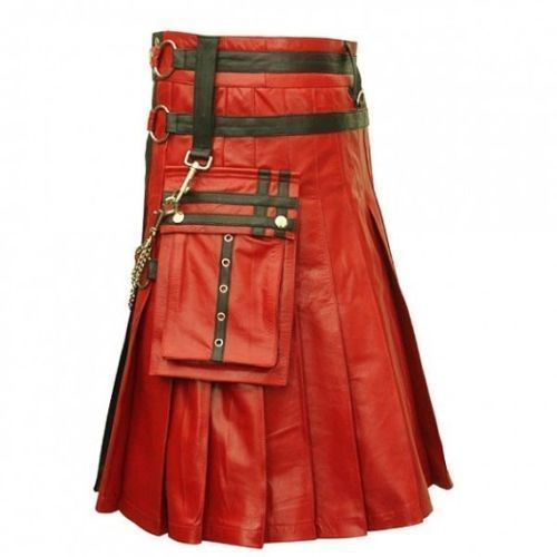 Gothic Mens Leather Kilt1