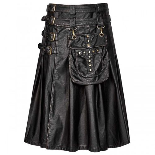 Handmade New Stylish Men's Gothic Fashion Kilt Black Steampunk