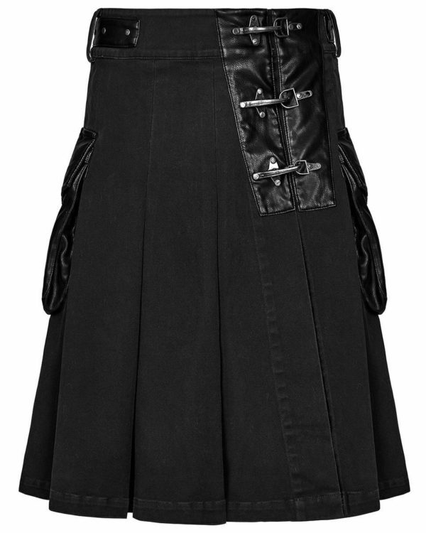Handmade Stylish Men's Gothic Fashion Wedding Kilt Black Leather Pockets 1
