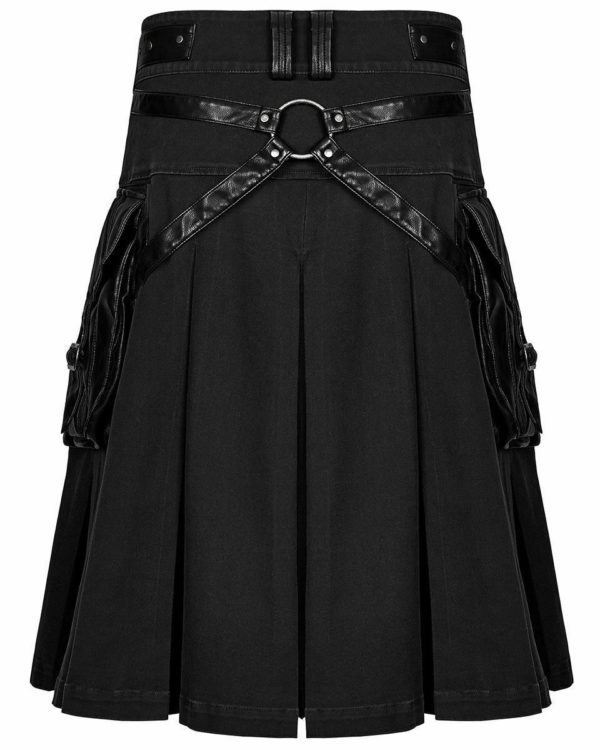Handmade Stylish Men's Gothic Fashion Wedding Kilt Black Leather Pockets