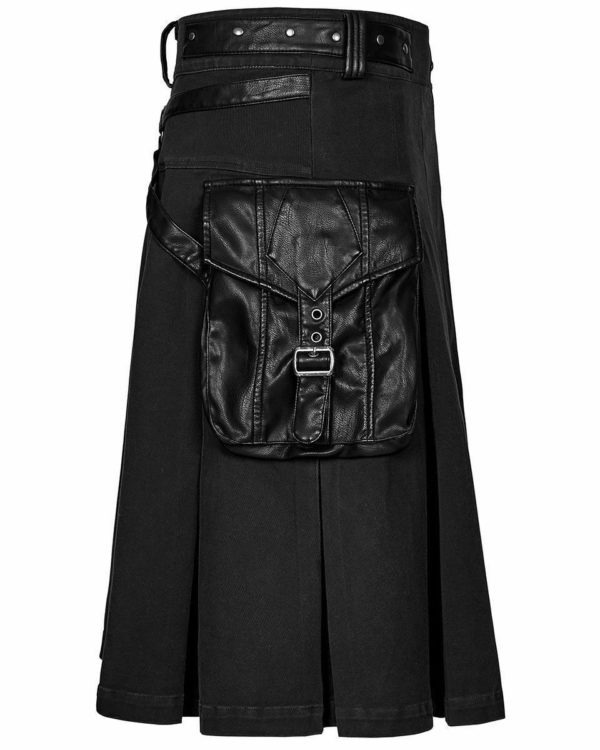Handmade Stylish Men's Gothic Fashion Wedding Kilt Black Leather Pockets2