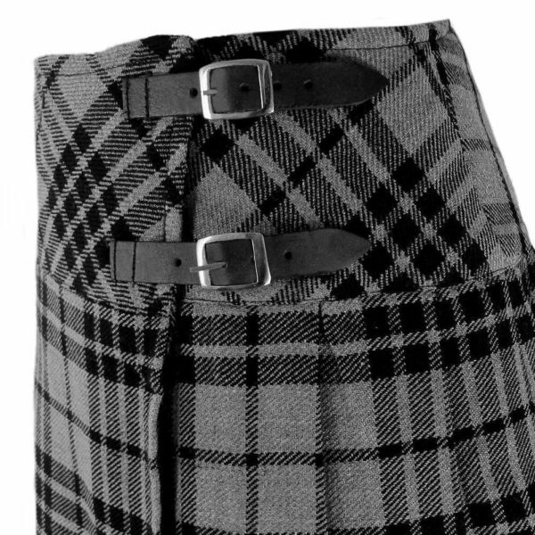 Ladies Knee Length Highland Gray Modern Kilt Tartan plated 1