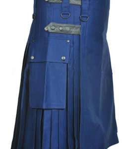 NAVY BLUE LEATHER STRAPS COTTON UTILITY KILT
