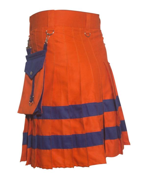 New Handmade Orange Scottish Utility Kilt