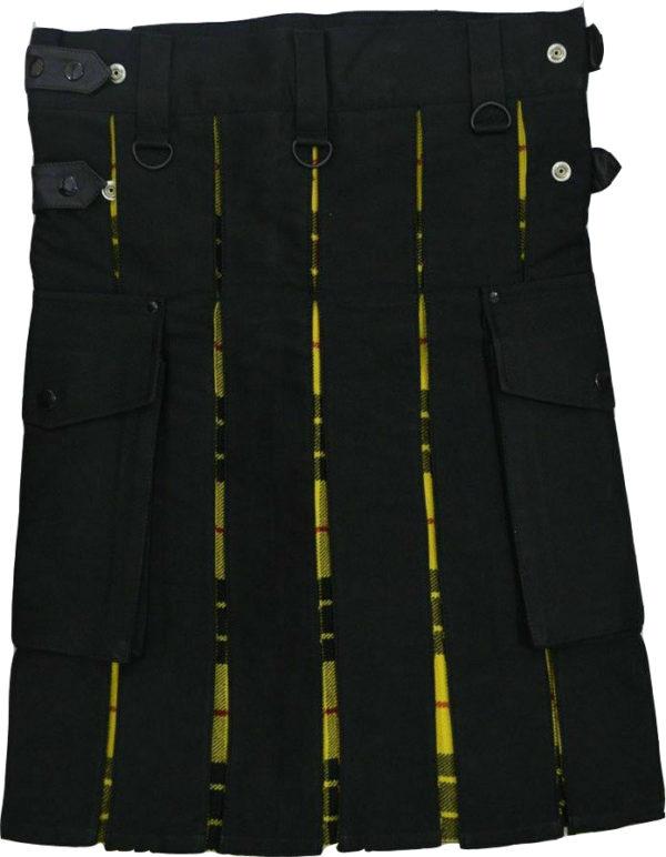 Scottish Hybrid Black & Mecleod of Lewis Tartan Kilt Men Handmade Utility Kilt1