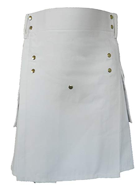 White Leather Strap Utility Kilt For Active Man Kilt Wedding Kilts1