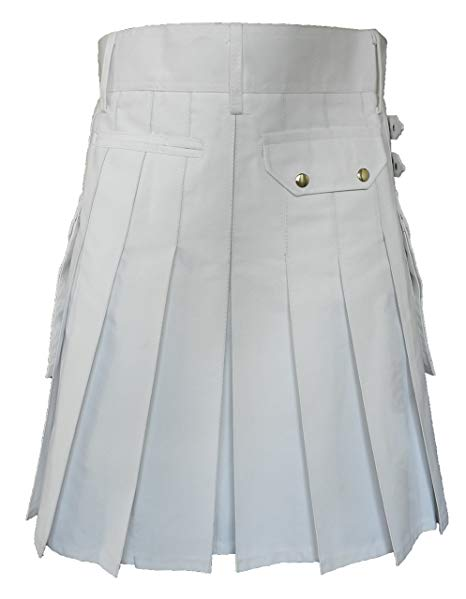White Leather Strap Utility Kilt For Active Man Kilt Wedding Kilts3