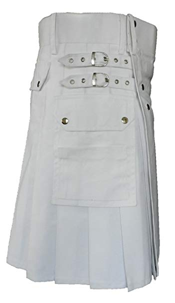 White Leather Strap Utility Kilt For Active Man Kilt Wedding Kilts4