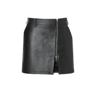 Zip-front Leather Mini Skirt