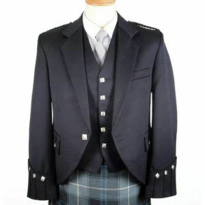 100% WOOL Argyle kilt Jacket & Waistcoat Vest, Scottish Argyle Jacket