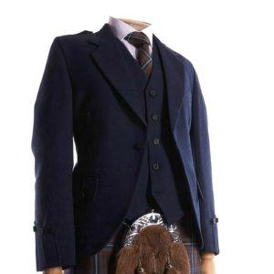 Men's Scottish Navy Blue Wool Argyle Kilt Jacket, 5 Button Waistcoat