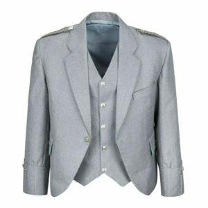 Grey Pipe Band Scottish Argyle kilt Jacket & WaistcoatVest