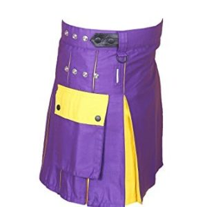 Hybrid Utility Kilt For Men Purple & Yellow