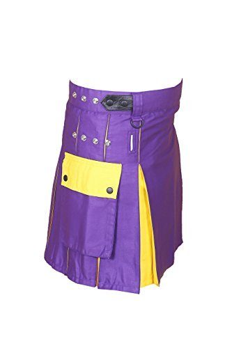 Hybrid Utility Kilt For Men Purple & Yellow2