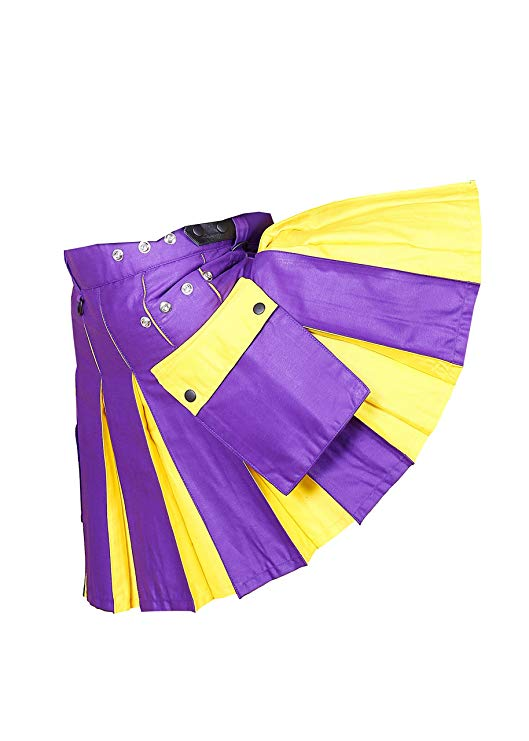 Hybrid Utility Kilt For Men Purple & Yellow3