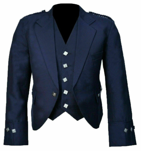 New Scottish Blue Wool Argyle Kilt Jacket With Waistcoat Vest