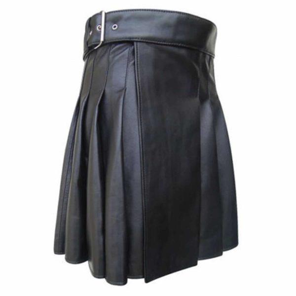 Side Belted Leather Kilt
