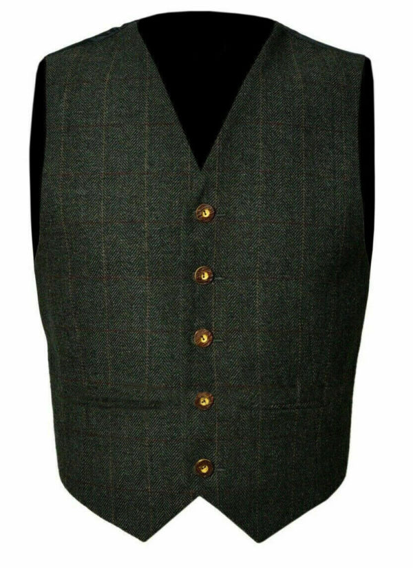 Trendy Scottish Tweed Argyle Kilt Jacket With Waistcoat Vest 1
