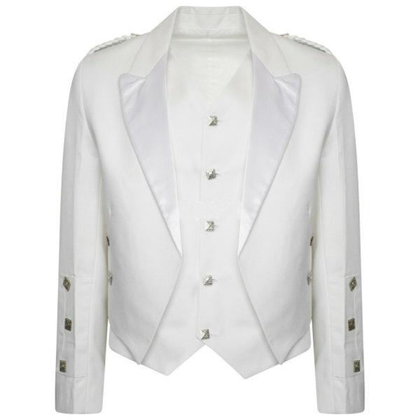 Boys & Mens White Pipe Band Highland Prince Charlie Kilt Jacket & Waistcoat1