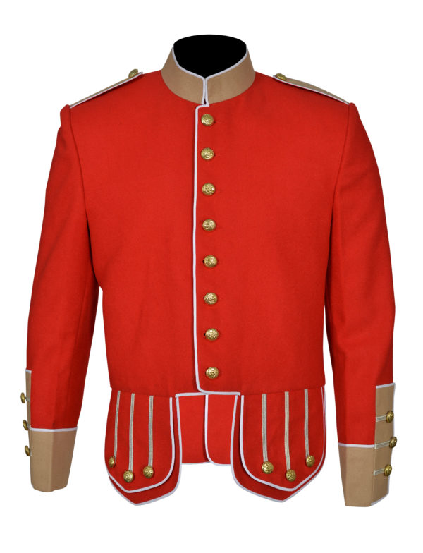 100% Wool Blend white Trim Red Military Doublet Pipe Band Jacket