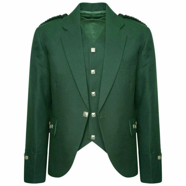 Tweed Crail Scottish Highland Argyle Kilt Green Traditional Jacket and Waistcoat