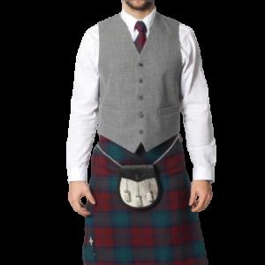 Light Grey Tweed 5 Button Vest
