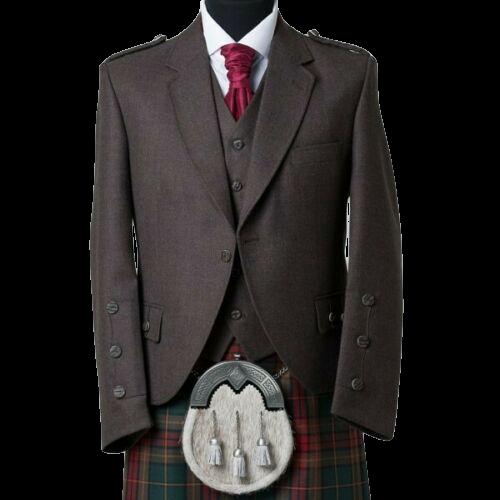 Men_Brown_Wool_Scottish_Kilt_Jacket_with_Waistcopreview