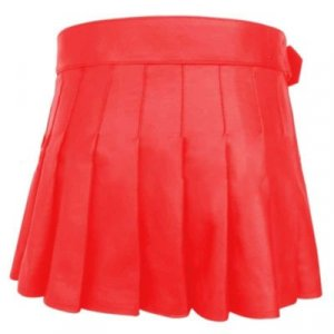 Buy New Leather Women Red Mini Kilt For Sale
