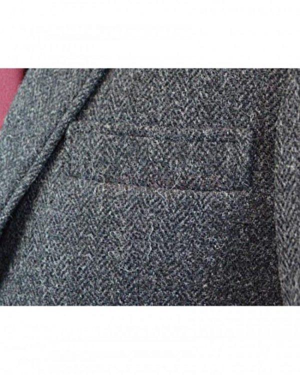 Dark Grey Tweed Argyle Jacket