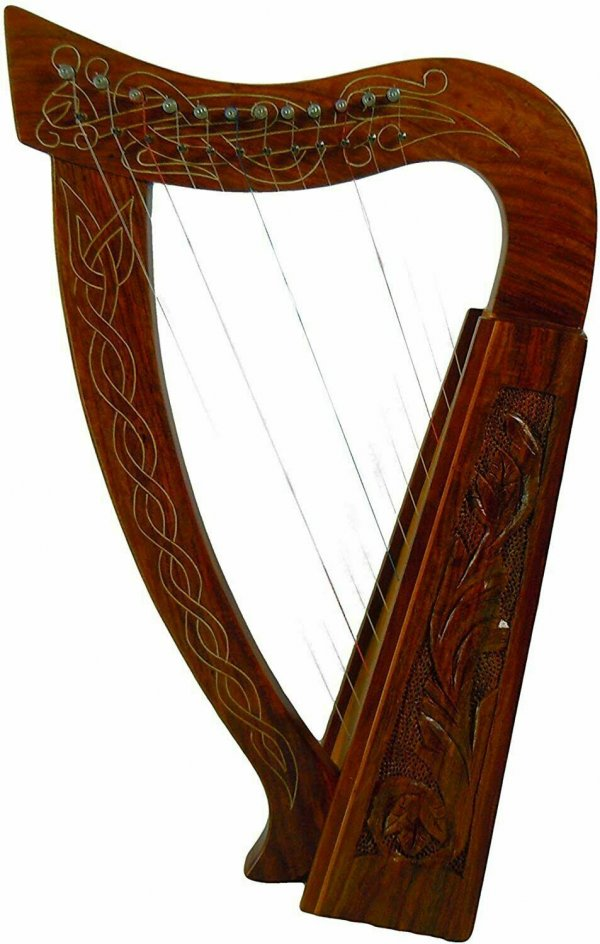Celtic Irish Baby Harp 12 Strings Solid RoseWood Free Bag, Strings & Tuning Key