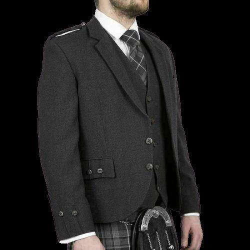 Scottish Tweed Crail Argyle Kilt Jacket With Vest – Black 100% Tweed Wool