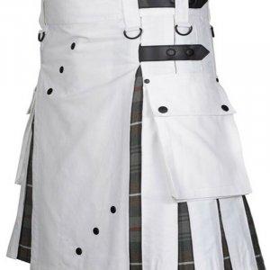 Scottish Fashion Utility Hybrid Kilt For Men White Color With Grey Tartan Pleats
