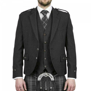 ScoScottish Tweed Crail Argyle Kilt Jacket With Vest - Gray 100% Tweed Wool