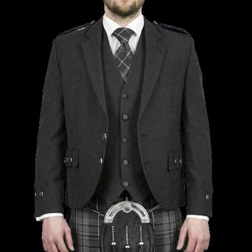 Scottish Tweed Crail Argyle Kilt Jacket With Vest – Gray 100% Tweed Wool
