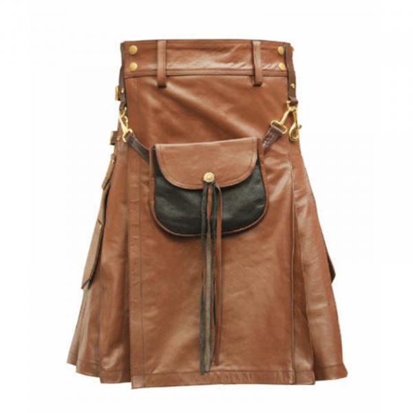 Brown Leather Utility Kilt With Sporran