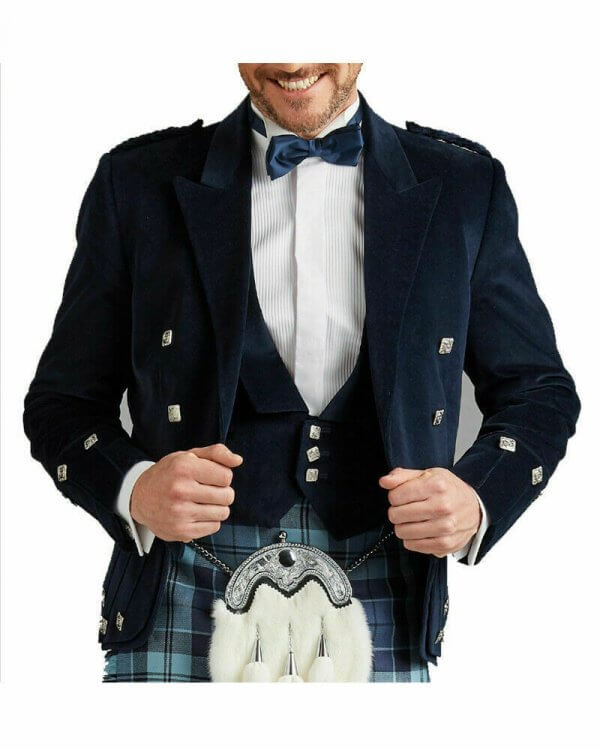Dark Blue Velvet Scottish Regulation Doublet Kilt Jacket With Vest