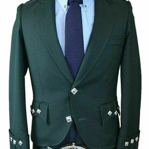 Scottish Green Argyle Kilt Jacket 100% Wool - Custom Made Highland Men's Jacket