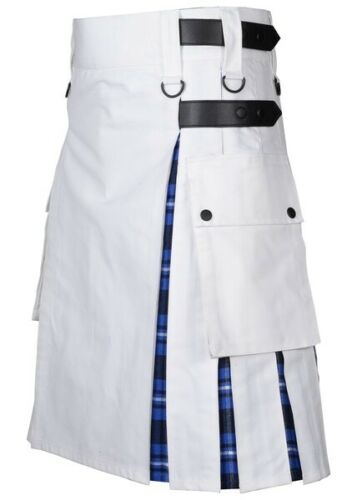 Men's White Cotton Utility Hybrid Kilt – American Patriot Tartan Under Pleats