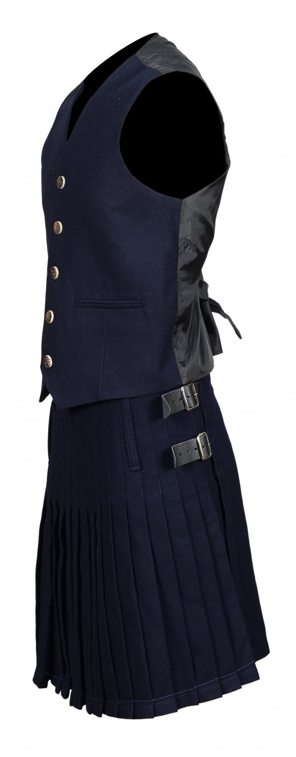 Sheriffmuir Men's Scottish Navy Blue Wool Argyle Kilt Jacket wedding dressJacket with Vest comes in black color and made of Serge fabric has its own grace to wear. This evening wearing Kilt Jacket comes with Vest and perfects suited for men's and boys. It featuring thistle insignia on all buttons and satin lapels. It is fully lined with satin and comes with 8 buttons. The waistcoat is fully lined and has 5 watching thistle buttons. This classic jacket is available in all general and plus sizes.  High Quality Made of Quality Serge Wool Comes with Chrome Buttons Fully lined with satin Thistle insignia on all buttons Two Waist Coat Pockets Available in all sizes Plus Sizes are also available Option to Customize Your Jacket: Custom Size: Custom size (Made to Measure) tailored fitting, will have your kilt feeling comfortable all day long. Ready Made: Standard sizes from XS to 4XL and everything in between to ensure that we can fit you no matter what's your size