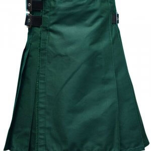 New Scottish Fashion Traditional Kilt Forest Green Leather Straps