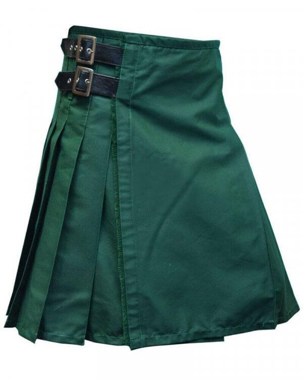 New Scottish Fashion Traditional Kilt Forest Green Leather Straps